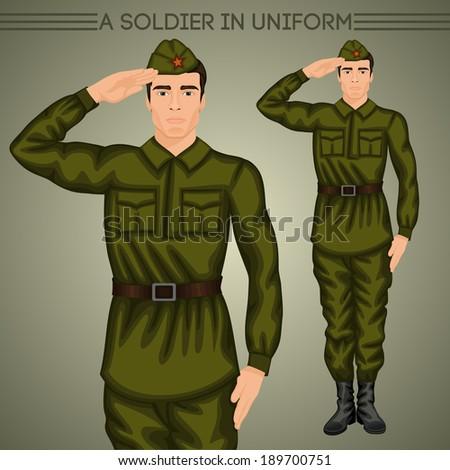 A soldier in uniform - stock vector