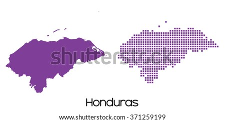A Solid and Mosaic Map of  Honduras - stock vector
