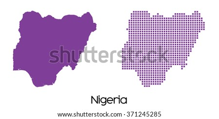 A Solid and Mosaic Map of Nigeria - stock vector