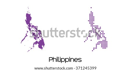 A Solid and Mosaic Map of  Philippines - stock vector