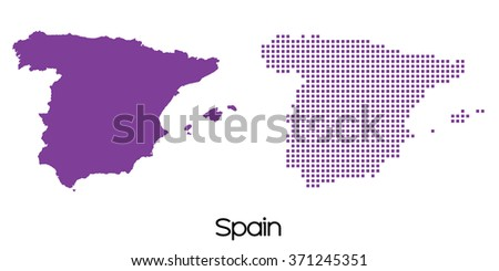 A Solid and Mosaic Map of  Spain - stock vector