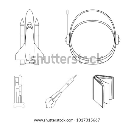 stock vector a spaceship in space a cargo shuttle a launch pad an astronaut s helmet space technology set 1017315667 spaceship space cargo shuttle launch pad stock vector 1017315667