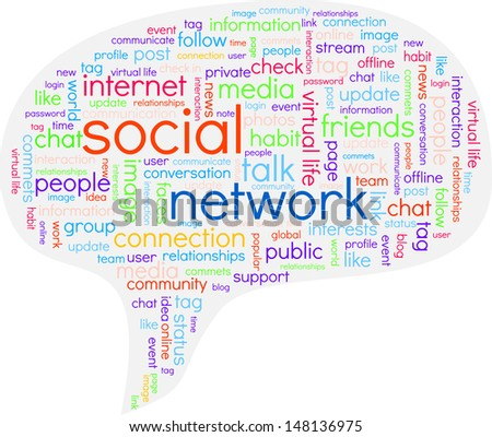A speech bubble containing multicolored words related to social network - stock vector