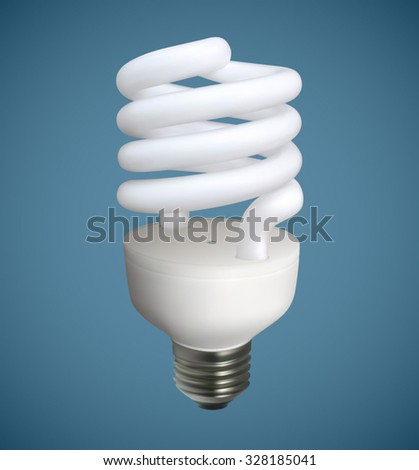 A Spiral light bulb vector illustration. Saved in eps 10 file with 3 transparencies, gradient meshes, 2 feather effects and 3 elements with opacity mask.