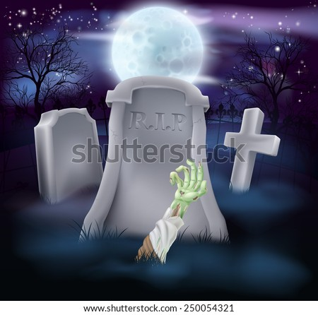 A spooky zombie grave Halloween illustration with full moon in the background - stock vector