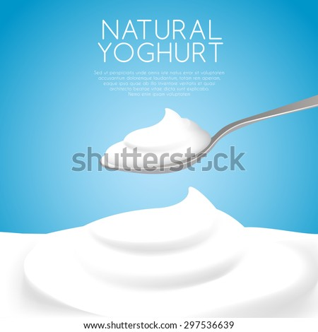 A Spoon of Natural Yogurt : Vector Illustration