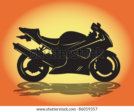 A sport motorbike in silhouette. - stock vector