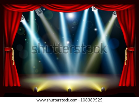 A spotlight theatre stage with coloured spotlights and red stage curtain drapes - stock vector