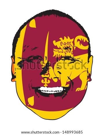 A Sri Lanka flag on a face, isolated against white.  - stock vector