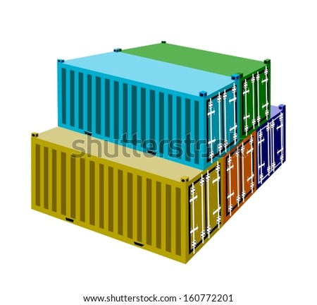 A Stack of Cargo Containers, Freight Containers or Shipping Containers for Portable Storage, Overseas Shipping or Mobile Office.  - stock vector