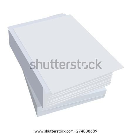 A stack of white paper. Isolated on a white background