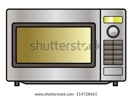 A stainless steel microwave oven. Shown front on.
