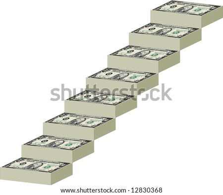 A stairway made of dollar bills - stock vector