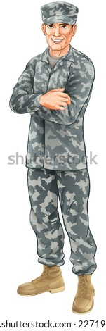 A standing soldier wearing camouflage combat uniform with his arms folded - stock vector