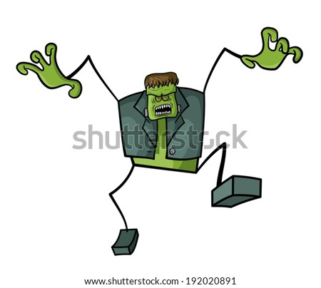 A stick figure cartoon of Frankenstein wants to scare us. - stock vector