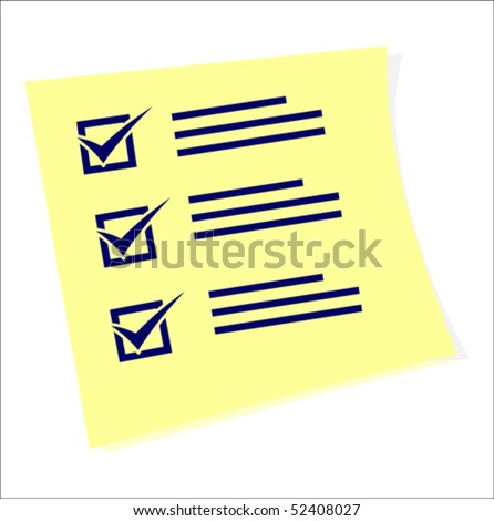 A sticker with tasks all ticked, vector illustration - stock vector