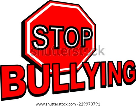 A Stop Bullying sign vector in red isolated on white  - stock vector