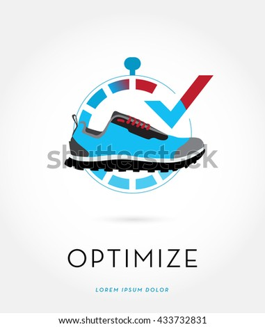 A STOPWATCH INCORPORATED WITH AN ATHLETIC SHOE AND A CHECK MARK , VECTOR LOGO / ICON  - stock vector