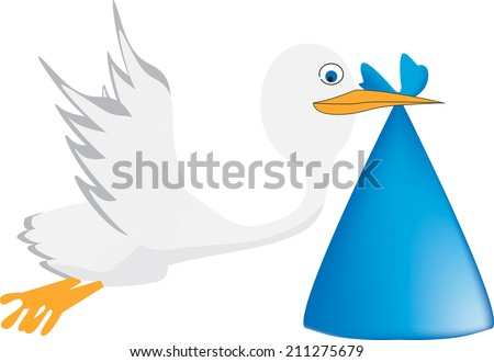 A stork is carrying a baby. Vector illustration - stock vector