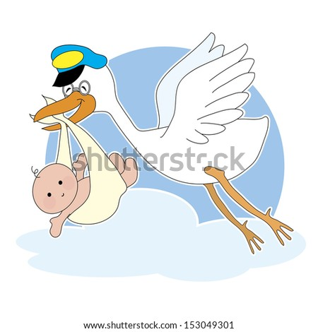 A stork is flying with a baby in it's beak - stock vector