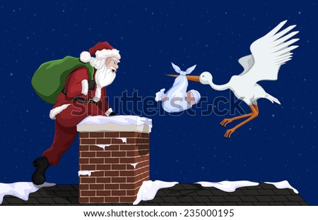 A stork with a baby boy and Santa Claus getting to a house at the same time.  - stock vector