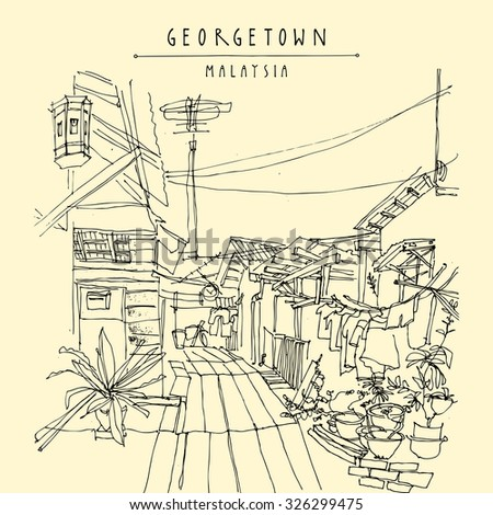 A street in Georgetown, Penang, Malaysia. Vector monochromatic vintage hand drawn postcard template