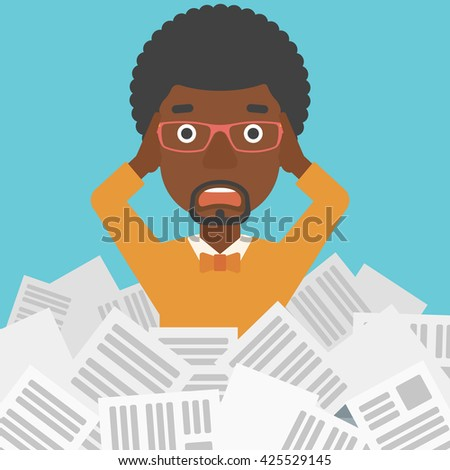 A stressed african-american man clutching his head because of having a lot of work to do with a heap of newspapers in front of him vector flat design illustration. Square layout. - stock vector