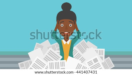 A stressed african-american woman clutching her head because of having a lot of work to do with a heap of newspapers in front of her vector flat design illustration. Horizontal layout. - stock vector