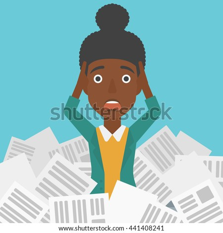 A stressed african-american woman clutching her head because of having a lot of work to do with a heap of newspapers in front of her vector flat design illustration. Square layout. - stock vector