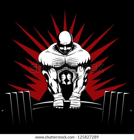 A strong body builder lifts weights. He is doing a dead lift. - stock vector