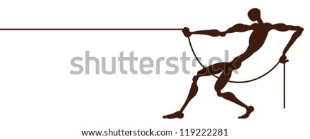 A strong man who pulls the rope. - stock vector