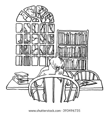 A student studying in a library line illustration  - stock vector