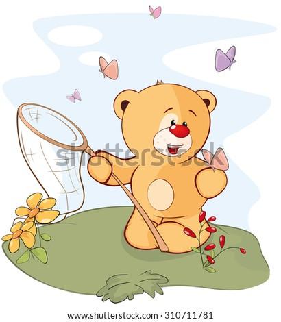 A stuffed toy bear cub and a butterflies cartoon  - stock vector