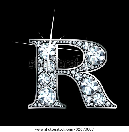 """A stunning beautiful """"R"""" set in diamonds and silver. Vector - stock vector"""