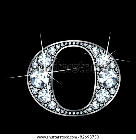 "A stunningly beautiful ""O"" set in diamonds and silver. Vector"