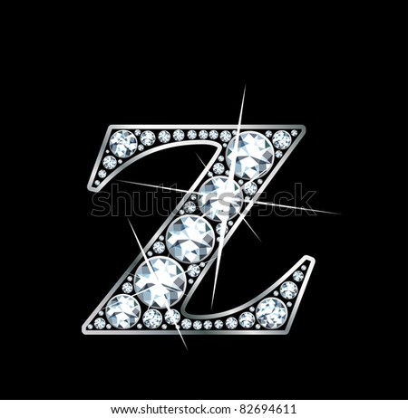 "A stunningly beautiful ""Z"" set in diamonds and silver. Vector"