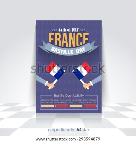 A4 Style Bastille Day Announcement Celebration Message Poster, Flyer, Card, Background Vector Design - stock vector