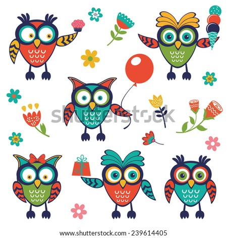 A stylish collection of cute, funny owls. Vector illustration - stock vector