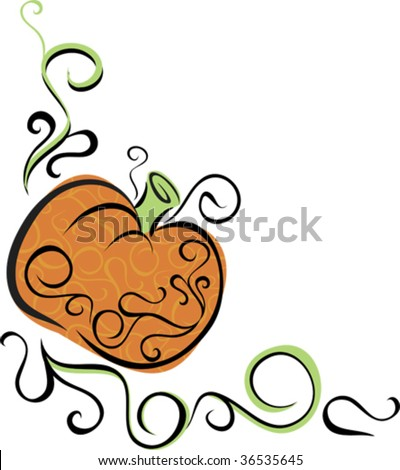 a stylish pumpkin vector, would make a unique embellishment for fall party invitations, recipes, or teacher's notes - stock vector
