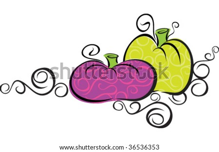 A stylish pumpkin vector, would make a unique embellishment for fall party invitations recipes, or class announcements - stock vector