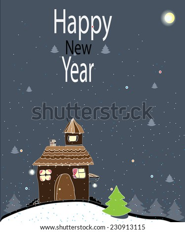 a stylized Christmas background with house and falling snow in the new year's eve,new year postcard - stock vector