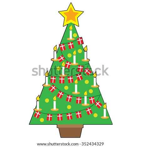 A stylized design of a traditional Danish Christmas tree - stock vector
