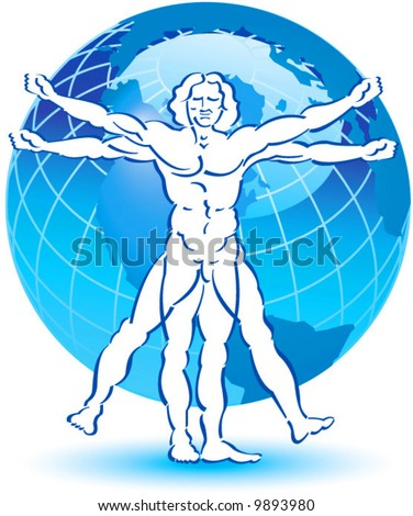 A stylized drawing of vitruvian man with a globe in the background - stock vector