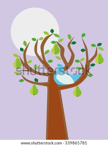 A stylized partridge bird in a pear tree as an illustration of the verse from a famous Christmas carol - stock vector