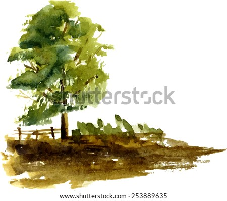 A stylized tree hand-painted with watercolors - stock vector