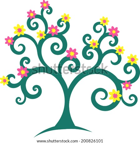 A stylized tree with spiral branches and flowers - stock vector