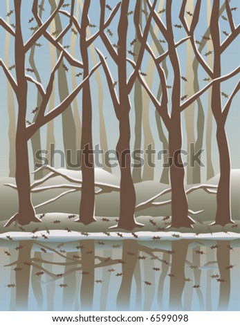 A stylized vector illustration of trees reflected in water in the Wintertime. - stock vector