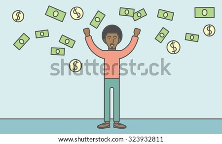 A successful african-american entrepreneur standing under  flying money. Successful business concept. Vector line design illustration. Horizontal layout with a text space.
