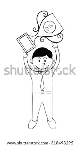 A successful businessman holds trophy. Hand draw style.