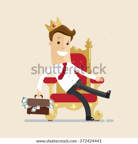 A successful businessman or manager is sitting on the throne like a king with crown on his head. Illustration, vector EPS10 - stock vector